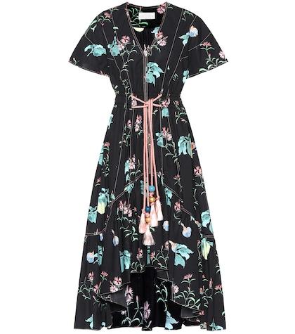 Printed cotton midi dress