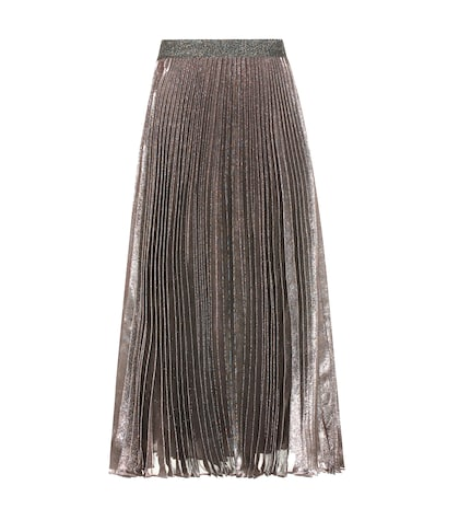 Metallic silk-blend skirt