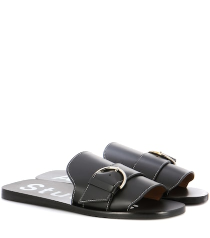 Virgie Leather Slip-on Sandals