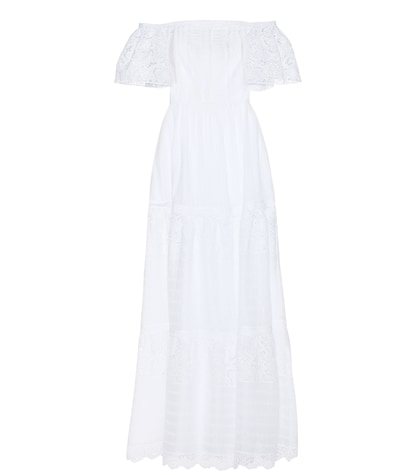 Lace-trimmed cotton dress