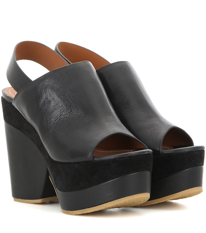 see by chloe female leather platform sandals