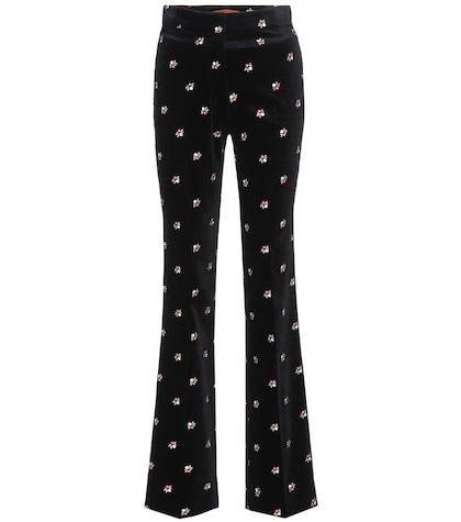 Embroidered velvet trousers
