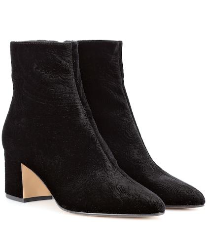 Paisley velvet ankle boots