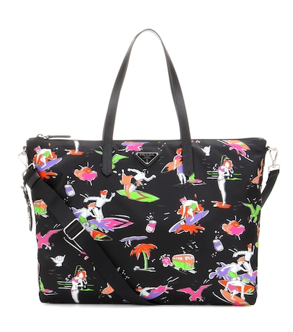 prada female printed tote bag