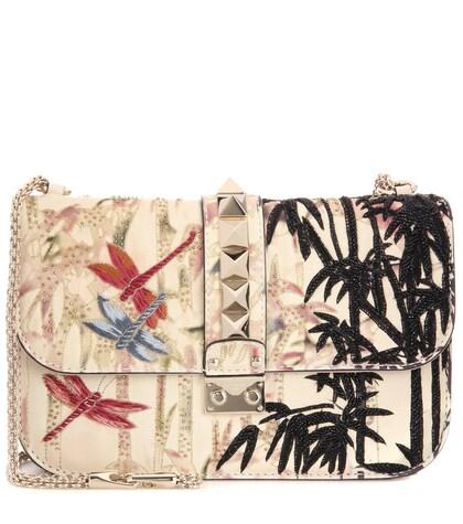 Lock Medium Embellished Leather Shoulder Bag