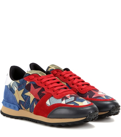 Starstudded Rockrunner Denim And Suede Sneakers