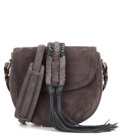 altuzarra female ghianda knot saddle suede shoulder bag
