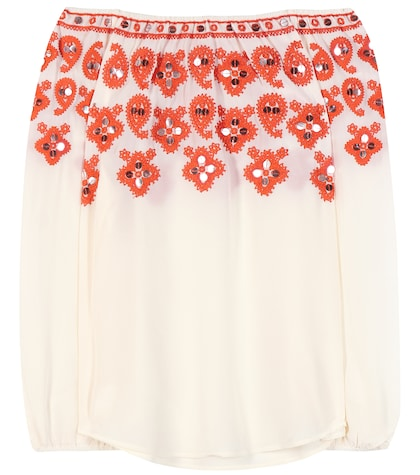 Leyla Off-the-shoulder Embroidered Silk Blouse