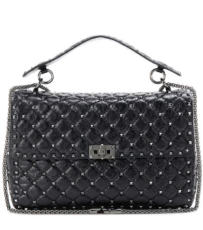 Rockstud Spike Quilted Leather Handbag