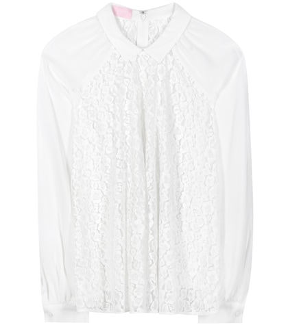 Lace and crêpe blouse