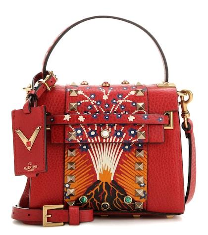 Enchanted Wonderland Embellished Printed Leather Shoulder Bag