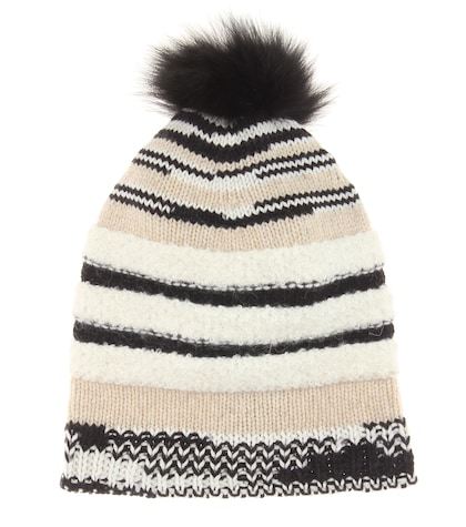 Knitted Wool Hat With Fur Trim