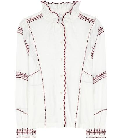 isabel marant etoile female delphine embroidered linen shirt
