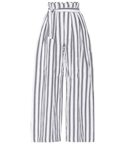Striped linen and cotton trousers