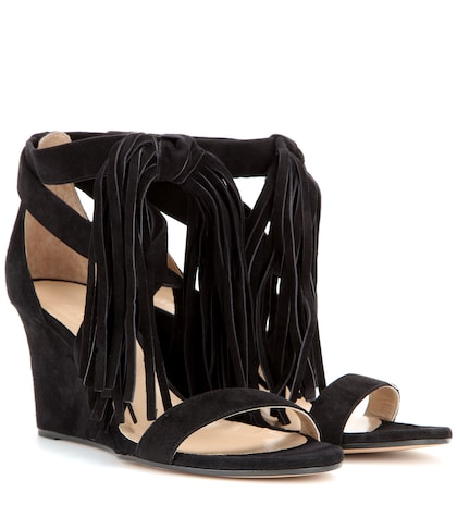 Tasselled suede wedge sandals
