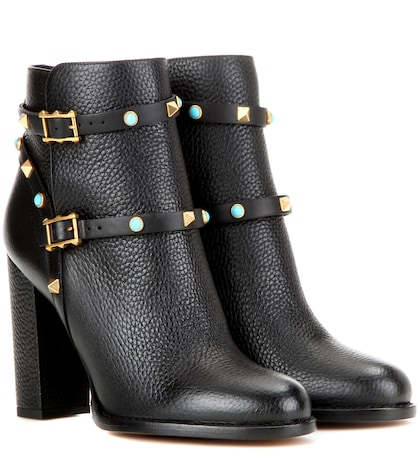 Rockstud Rolling Leather Ankle Boots