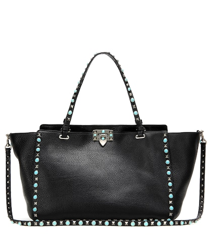 valentino female 188971 rockstud rolling leather tote