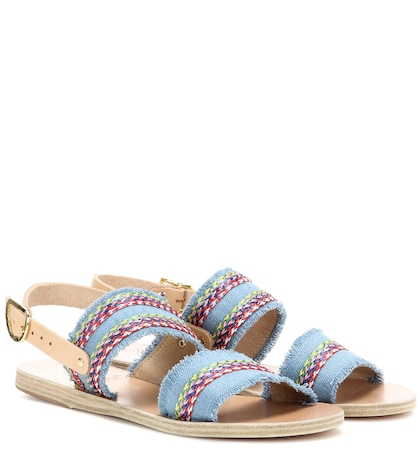 Dinami Raffia Fabric And Leather Sandals