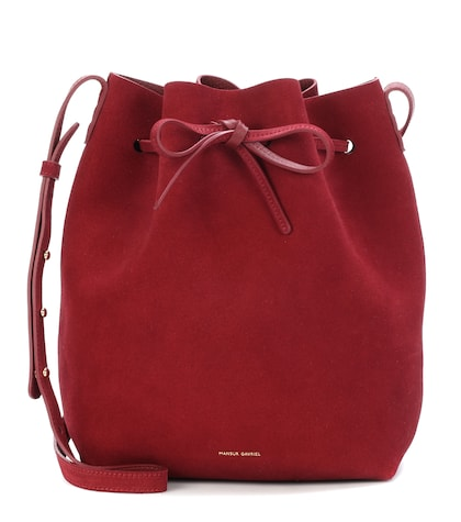 Bucket suede crossbody bag