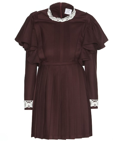 Lace-trimmed Wool-blend Dress