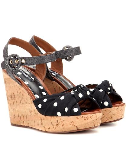 Polka-dot wedge sandals