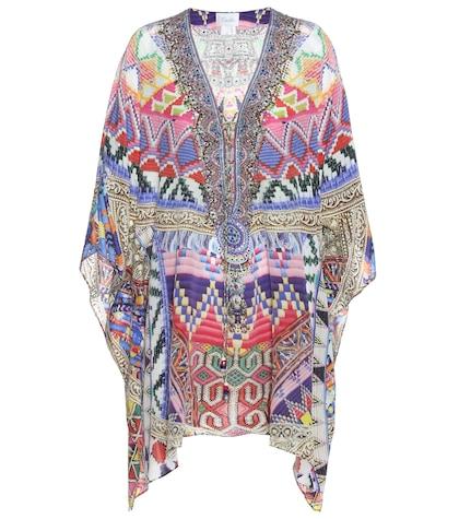 Printed Embellished Silk Kaftan
