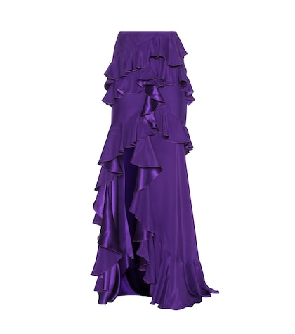 Ruffled Silk Satin Skirt
