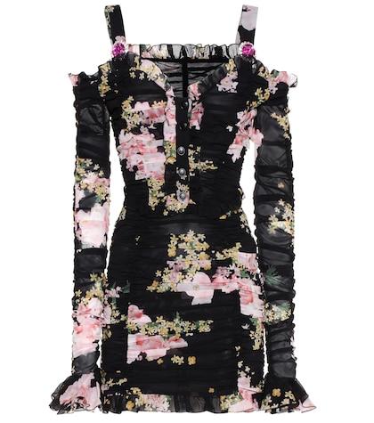 alessandra rich female embellished floralprinted mini dress