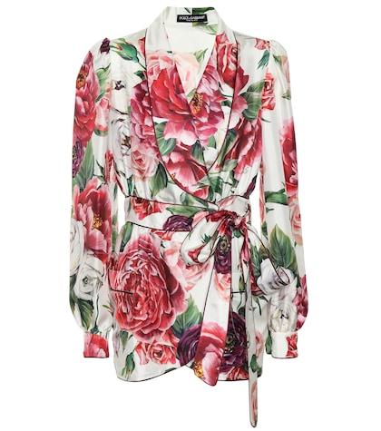 Floral silk wrap jacket