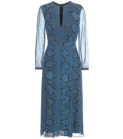 burberry female jennifer printed silk midi dress