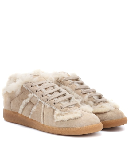 Shearling-lined suede sneakers