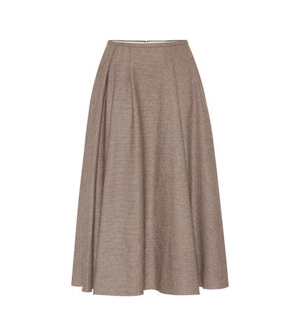 Checked wool-blend skirt