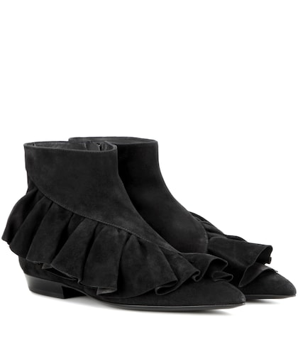 jw anderson female ruffle suede ankle boots