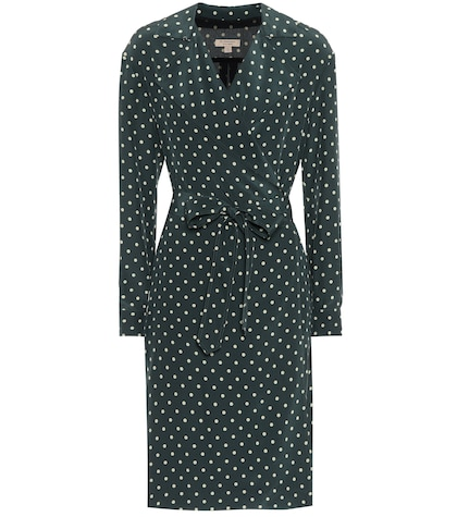 Polka-dotted silk wrap dress