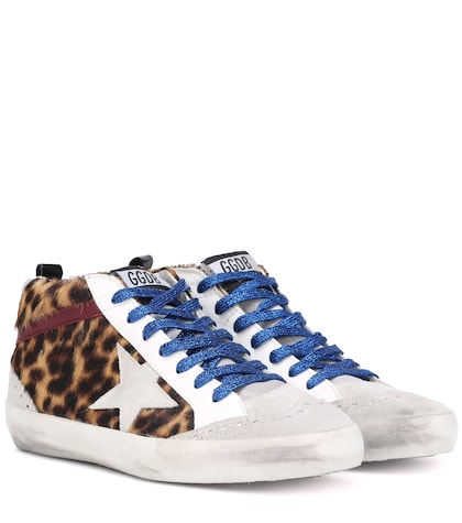 Mid Star leopard calf hair sneakers