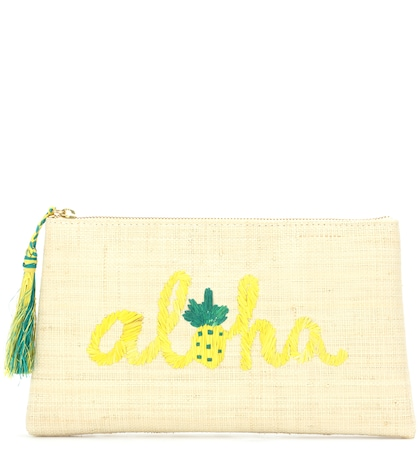 Aloha Embroidered Straw Clutch