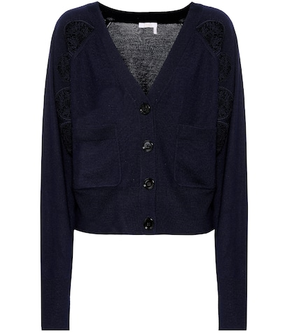 Lace-panelled wool cardigan