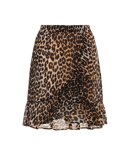 Leopard-printed georgette skirt