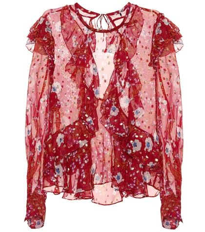Ruffled floral-printed blouse
