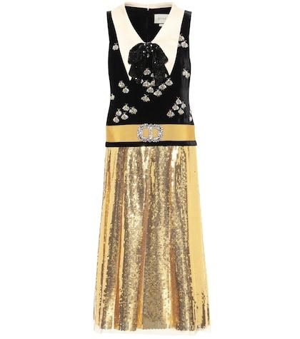 Embellished velvet dress