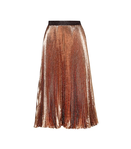 Mytheresa.com Exclusive Pleated Metallic Silk-blend Skirt