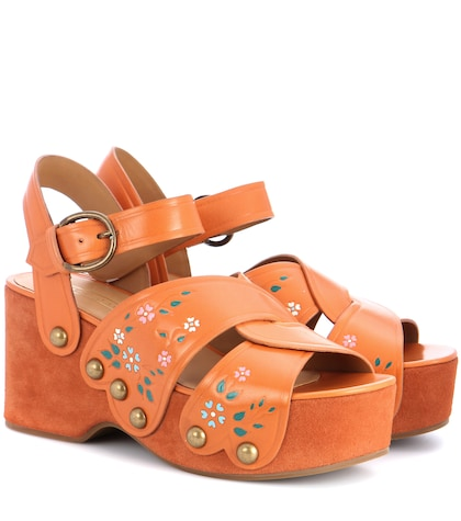 Wildflower leather wedges
