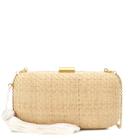 Charlotte woven straw clutch