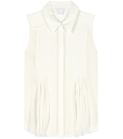 diane von furstenberg female venessa pleated silk blouse