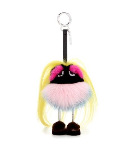 fendi female mini zaino monster fur charm
