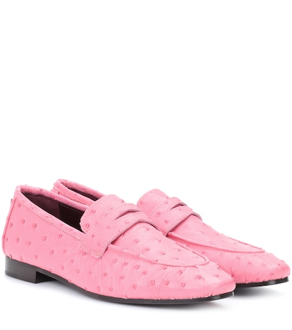 Ostrich leather loafers