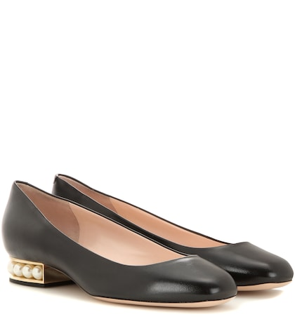 Casati Pearl Embellished Leather Ballerinas