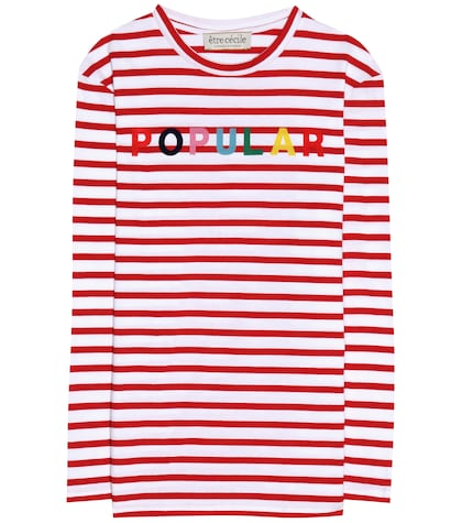 Striped cotton jersey top with appliqué