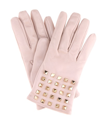Rockstud cashmere-lined leather gloves