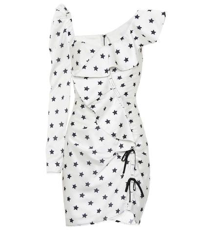 Star-printed satin dress